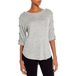 Kim & Cami Button Accent High/Low Top