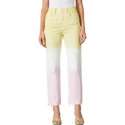 Grlfrnd Mica Color Blocked Straight Jeans in Pink Crush found on MODAPINS from bloomingdales.com for USD $136.80