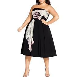 City Chic Plus Austin Floral Graphic Convertible Strapless Dress