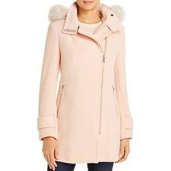 Calvin Klein Faux Fur Trim Wool-Blend Coat