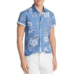 The Men's Store at Bloomingdale's Short-Sleeve Floral-Print Classic Fit Poplin Shirt - 100% Exclusive found on Bargain Bro India from bloomingdales.com for $26.33