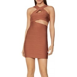 Herve Leger Crystal Cross Neck Cutout Mini Dress found on MODAPINS from Bloomingdales UK for USD $564.89
