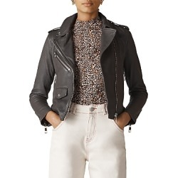 Whistles Agnes Leather Biker Jacket found on Bargain Bro India from bloomingdales.com for $659.00