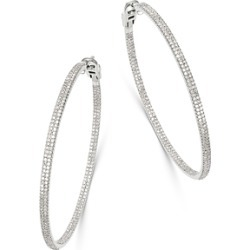 Bloomingdale S Diamond Inside Out Large Hoop Earrings In 14k White Gold 2 0 Ct T W 100 Exclusive