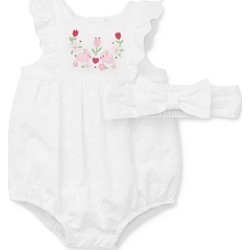 Little Me Girls' Bunny Eyelet Cotton Bubble Romper & Headband Set - Baby found on Bargain Bro India from bloomingdales.com for $32.00
