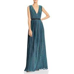 Bcbgmaxazria Metallic Stripe Pleated Gown