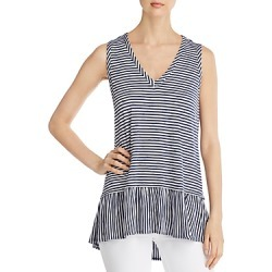 Kim & Cami Sleeveless Striped Ruffle-Hem Top