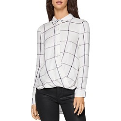 Bcbgeneration Windowpane Draped High/Low Blouse