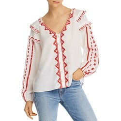 Parker Tiered-Ruffle Embroidered Top