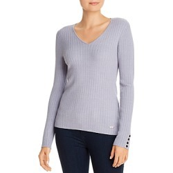 T Tahari V-Neck Button Accent Ribbed Top