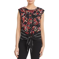 Kim & Cami Sleeveless Printed Tie-Front Top