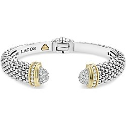 Lagos 18K Gold and Sterling Silver Caviar and Diamonds Cuff, 12mm found on Bargain Bro India from Bloomingdales Canada for $4720.05