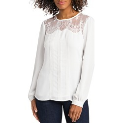 Vince Camuto Lace Trim Pleated Top found on Bargain Bro from Bloomingdales Canada for USD $42.75