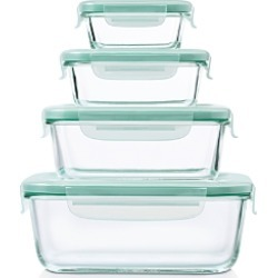 Oxo 8-Piece Smart Seal Glass Rectangle Container Set