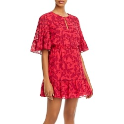 Joie Tersea Silk-Blend Embroidered Ruffled Mini Dress found on MODAPINS from bloomingdales.com for USD $130.50