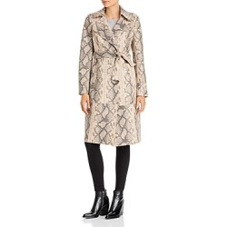 Sunset + Spring Snake Print Faux-Leather Trench Coat - 100% Exclusive