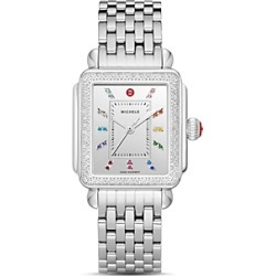 Michele Deco Stainless Steel Rainbow Diamond Watch, 33mm x 35mm found on MODAPINS from bloomingdales.com for USD $2095.00