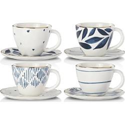 Lenox Blue Bay Espresso Cup and Saucer, Set of 4