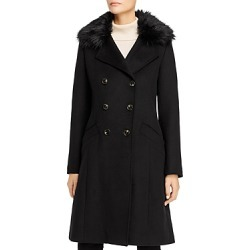 T Tahari Maci Faux Fur-Trim Double-Breasted Front Coat