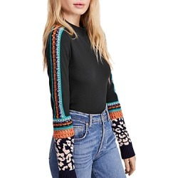 Free People Switch It Up Crochet-Trim Thermal Top