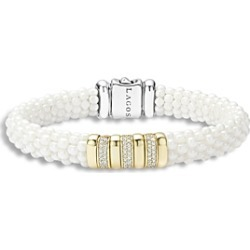 Lagos White Caviar Ceramic and 18K Gold Bracelet with Diamonds
