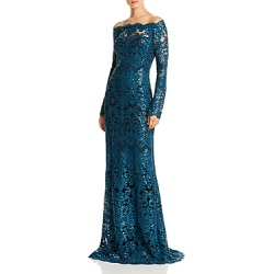 Tadashi Shoji Off-the-Shoulder Sequin Embroidered Gown