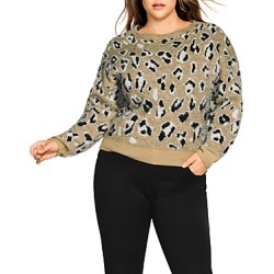 City Chic Plus Leopard-Print Sweater
