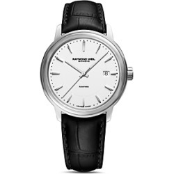Raymond Weil Maestro Black Leather Strap Automatic Watch, 39.5mm