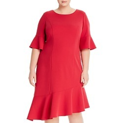 Adrianna Papell Plus Asymmetric Knit Crepe Ruffled Dress found on Bargain Bro India from Bloomingdales Canada for $100.03