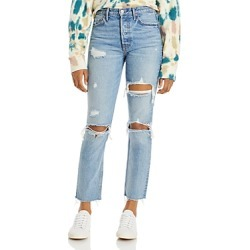 Grlfrnd Karolina Cotton Ripped Straight Jeans in A Little More Love found on MODAPINS from bloomingdales.com for USD $248.00