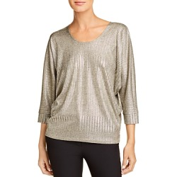 Kim & Cami Ribbed Metallic Top
