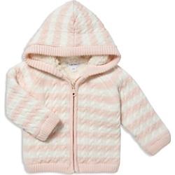 Angel Dear Girls' Striped Knit Sherpa-Lined Jacket - Baby
