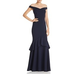 Aqua Off-the-Shoulder Tiered Crepe Gown - 100% Exclusive found on MODAPINS from Bloomingdales UK for USD $232.25