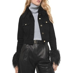 Michael Michael Kors Faux Fur Trim Cropped Denim Jacket found on Bargain Bro UK from Bloomingdales UK
