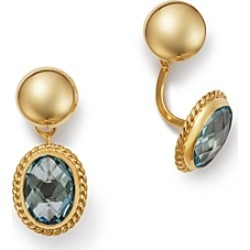 Bloomingdale's Blue Topaz Oval Drop Ear Jackets in 14K Yellow Gold - 100% Exclusive found on Bargain Bro Philippines from Bloomingdales Canada for $237.76