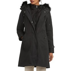 Barbour Braan Faux Fur Trim Hooded Coat