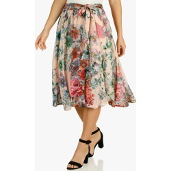 Women's Floral Print Chiffon Midi Skirt - Pink found on Bargain Bro Philippines from BurkesOutlet for $40.00