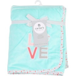 LOVE Embroidered Plush Baby Blanket