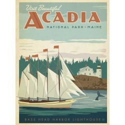 Canvas on Demand Poster Print 12 x 16 entitled Acadia National Park, Maine - Retro Travel Poster