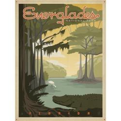 Canvas on Demand Poster Print 12 x 16 entitled Everglades National Park, Florida - Retro Travel Poster