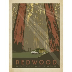 Canvas on Demand Poster Print 12 x 16 entitled Redwood National Park, California - Retro Travel Poster found on Bargain Bro Philippines from Canvas On Demand - Dynamic for $39.99