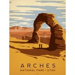 Canvas on Demand Poster Print 12 x 16 entitled Arches National Park, Utah - Retro Travel Poster