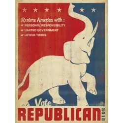 Canvas on Demand Poster Print 12 x 16 entitled Restore America, Vote Republican - Retro Political Poster found on Bargain Bro India from Canvas On Demand - Dynamic for $39.99