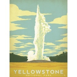 Canvas on Demand Poster Print 12 x 16 entitled Yellowstone National Park, Wyoming - Retro Travel Poster