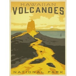 Canvas on Demand Poster Print 12 x 16 entitled Volcanoes National Park, Hawaii - Retro Travel Poster