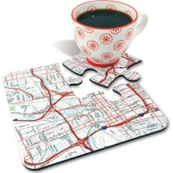 Jigsaw Custom Map Coasters found on Bargain Bro India from colorfulimages.com for $44.99