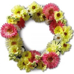 Daisy-Zinnia Wreath found on Bargain Bro India from colorfulimages.com for $24.99
