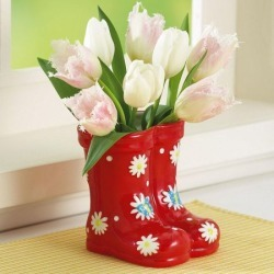 Red Ceramic Boot Planter found on Bargain Bro India from colorfulimages.com for $12.99