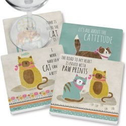 Crazy Cat Coasters found on Bargain Bro India from colorfulimages.com for $14.99