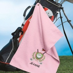 Personalized Golf Towel in Pink found on Bargain Bro from colorfulimages.com for USD $12.91